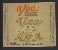 Etiquette De Bière Ténor APA  -   Brasserie De Voas à Saint Gobain  (02) - Bière