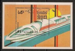 Kampuchea - 1989 - Bloc Feuillet BF N°Yv. 69B - Trains - Neuf Luxe ** / MNH / Postfrisch - Kampuchea