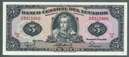 P 113d - 5 SUCRES - 22/11/1988 - NEUF Série IA N° 03915980 - Ecuador