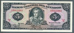 P 113d - 5 SUCRES - 22/11/1988 - NEUF Série IA N° 03915983 - Ecuador