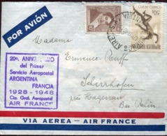 47388 Argentina, Circuled Cover 1948 Servicio Aerepostal Argentina Francia Air France - Luftpost