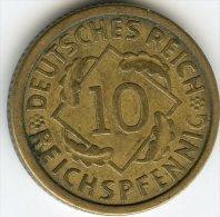 Allemagne Germany 10 Reichspfennig 1925 E J 317 KM 40 - 10 Rentenpfennig & 10 Reichspfennig