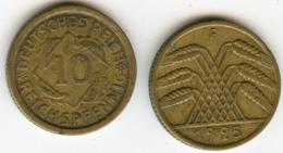 Allemagne Germany 10 Reichspfennig 1925 F J 317 KM 40 - 10 Rentenpfennig & 10 Reichspfennig