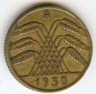Allemagne Germany 10 Reichspfennig 1930 A J 317 KM 40 - 10 Rentenpfennig & 10 Reichspfennig