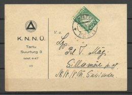 Estland Estonia 1936 Postkarte Verein D. Jungen Christlichen Frauen Michel 120 Als Einzelfrankatur - Estland