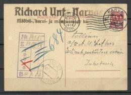 Estland Estonia 1928 Firmenpostkarte Mit Überdruck Und Michel 68 Als Einzelfrankatur - Estland