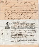 """1786 - CANNES - GRASSE - Connaissement Pour M. COSTE, Notaire Royal RODES (66) Tartane """"La Régente"""" - Historical Documents"""