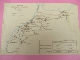 Carte Ancienne/Schéma Des Routes Du MAROC/Longueurs Construites /Terminées, En Voie D'achèvement, En Projet/1927  PGC372 - Mapas Geográficas