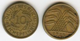 Allemagne Germany 10 Reichspfennig 1935 D J 317 KM 40 - 10 Reichspfennig