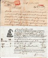 """1787 - CANNES - GRASSE - Connaissement Pour M. LAMARQUE Tartane """"La Diligente"""""""" - Historical Documents"""