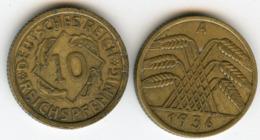 Allemagne Germany 10 Reichspfennig 1936 A J 317 KM 40 - 10 Reichspfennig