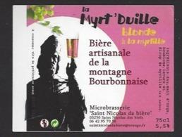 Etiquette De Bière Blonde - La Myrt'duille  - Microbrasserie De Saint Nicolas De Biefs  (03) - Bière