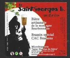 Etiquette De Bière Ambrée - La Saint Georges B 75 Cl - Microbrasserie De Saint Nicolas De Biefs  (03) - Bière