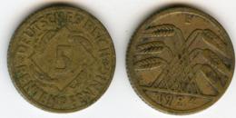 Allemagne Germany 5 Rentenpfennig 1924 E J 308 KM 32 - 5 Rentenpfennig & 5 Reichspfennig