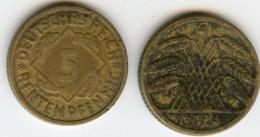 Allemagne Germany 5 Rentenpfennig 1924 G J 308 KM 32 - 5 Rentenpfennig & 5 Reichspfennig