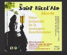 Etiquette De Bière Blonde - La Saint Nicol'ale  75 Cl  - Microbrasserie De Saint Nicolas De Biefs  (03) - Bière