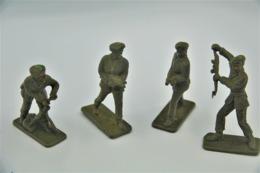 Crescent Toys Co LTD , 4 Green Berets (mortar Gun) , Made In England, Vintage, Lot - Figurines