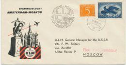 """NIEDERLANDE1958 Erstflug Der KLM """"AMSTERDAM - MOSCOU, Sowjet-Union"""", Nur Wenige Geflogen - Luchtpost"""