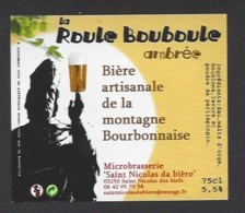 Etiquette De Bière Ambrée - La Roule Bouboule  75 Cl  - Microbrasserie De Saint Nicolas De Biefs  (03) - Bière