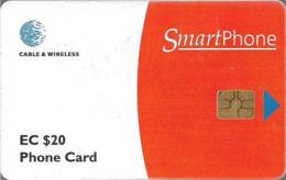 Antigua & Barbuda - C&W (Chip) - Smart Card Red - Chip Gem5 Black, 20 EC$, 1999, Used - Antigua En Barbuda