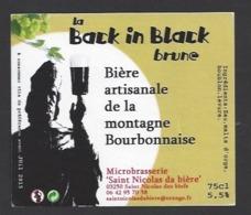 Etiquette De Bière Brune - La Black In Black 75 Cl  - Microbrasserie De Saint Nicolas De Biefs  (03) - Bière