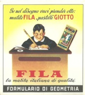"5295 "" FILA-FORMULARIO DI GEOMETRIA "" TABELLINA ORIGINALE - Pubblicitari"