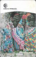 Antigua & Barbuda - C&W (Chip) - Clowns - Chip Gem5 Black, 10 EC$, 1999, Used - Antigua En Barbuda