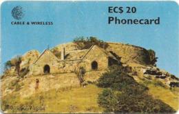 Antigua & Barbuda - C&W (Chip) - Fort Barrington, (Goat Hill), Chip Gem5 Red, 20 EC$, 1999, Used - Antigua En Barbuda