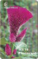 Antigua & Barbuda - C&W (Chip) - Flower Celosia - Chip Gem5 Red, 10 EC$, 2001, Used - Antigua En Barbuda