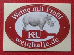 GERMANY PEGATINA ADHESIVO STICKER K&U ADVERTISING RINOCERONTE RHINO RHINOCEROS RHINOS RHINOCEROSES BOTTLE BOTELLA...VER - Stickers