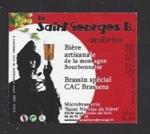 Etiquette De Bière Ambrée - La Saint Georges B. 25 Cl  - Microbrasserie De Saint Nicolas De Biefs  (03) - Bière