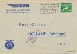NETHERLANDS 1947 VF Special Flight KLM Centennial Special AMSTERDAM-HOLLAND (USA - Luchtpost