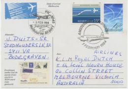 """NIEDERLANDE 1984 """"Uiver""""-Erinnerungs-Sonderflug A. Sonderflugpostkarte MELBOURNE - Luchtpost"""