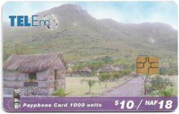 St. Maarten (Antilles Netherlands) - Tel-Em - Mountains, Gem5 Black, 18NAƒ, Used - Antillen (Nederlands)