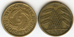 Allemagne Germany 5 Reichspfennig 1925 D J 316 KM 39 - [ 3] 1918-1933 : Republique De Weimar