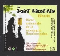 Etiquette De Bière Blonde  -  La Saint Nicol'ale 33 Cl  - Microbrasserie De Saint Nicolas De Biefs  (03) - Bière