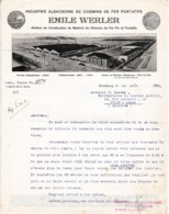 1923 - STRASBOURG - CHEMINS DE FER FIX Et PORTATIFS - Emile WERLER - Pour TORCY-SEDAN - Historical Documents