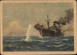 Artiste Cp Deutsches Kriegsschiff, Hilfskreuzer Im Kampf Gegen Feindlichen Versorgungsschifffahrt - Ships