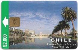 Chile - CTC - Estero Marga Marga (1st Issue), Gem1B White-Gold, No Moreno On Reverse, 2.000Cp$, 11.1997, 100.000ex, Used - Chili