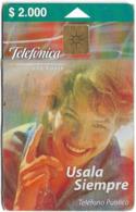 Chile - Telefónica - Teléfono Público (Reverse Instructions), 2.000Cp$, Exp. 10.2001, 600.000ex, Used - Chile