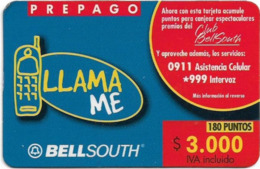 Chile - Bell South - Llamame - Prepago Mobile, Prepaid 3.000Cp$, Exp. 31.12.2001, Used - Chili