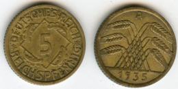 Allemagne Germany 5 Reichspfennig 1935 A J 316 KM 39 - [ 4] 1933-1945 : Troisième Reich