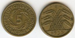 Allemagne Germany 5 Reichspfennig 1935 F J 316 KM 39 - 5 Reichspfennig