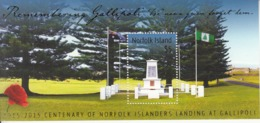 2015 Norfolk Island WWI Gallipoli Military Complete Souvenir Sheet MNH - Norfolk Island