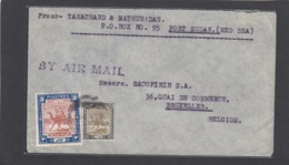 LETTRE PAR AVION DE PORT SOUDAN POUR LA SOCIÉTÉ SACOFININ A BRUXELLES. - Sudan (...-1951)