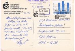 Finnland Postkarte Von Der EM Im Sport Schießen Lahti 1987 - Von Einem Teilnehmer - Tir (Armes)