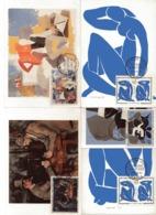 1319/1322 FDC/CM 10.11.61 - BRAQUE / MATISSE X 2 / CEZANNE /DE LA FRESNAYE - 1960-1969