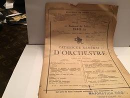 Catalogue Général D'orchestre Table Des Matières Paris XIX Pages éditeur De Musique Enoch - Partitions Musicales Anciennes