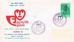 Türkei FDC Edirne 1978 - Briefmarkenausstellung; Marke Fußball - FDC