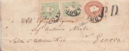 """227 - LOMBARDO VENETO - 3 Settembre 1863 - Lettera In P.D. Da Padova A Genova -Annullo """"PADOVA"""" E """"P.D."""" - Lombardo-Veneto"""
